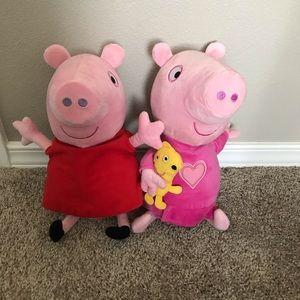 Set of 2 Talking & Giggling Peppa Pig Plushes